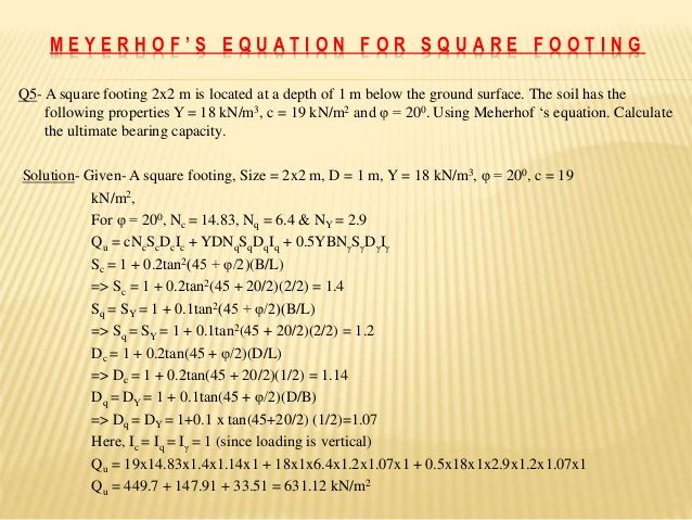 Q5- A square footing 2x2 m is located at a depth of 1 m below the ground surface. The soil has the following properties Y ...