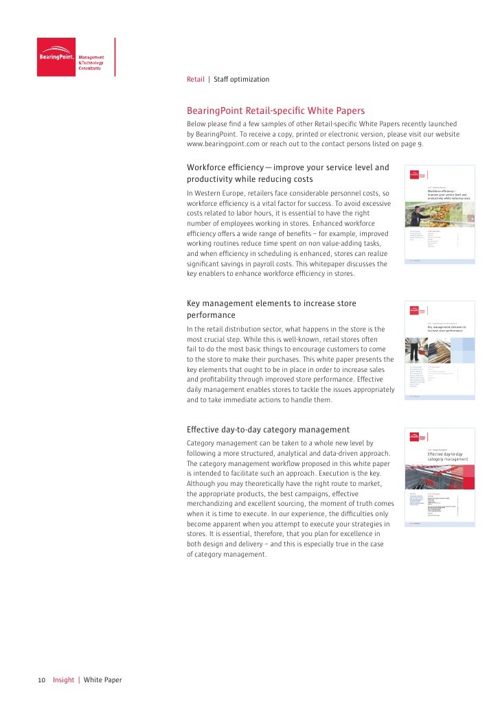 Retail | Staff optimization                            BearingPoint Retail-specific White Papers                          ...
