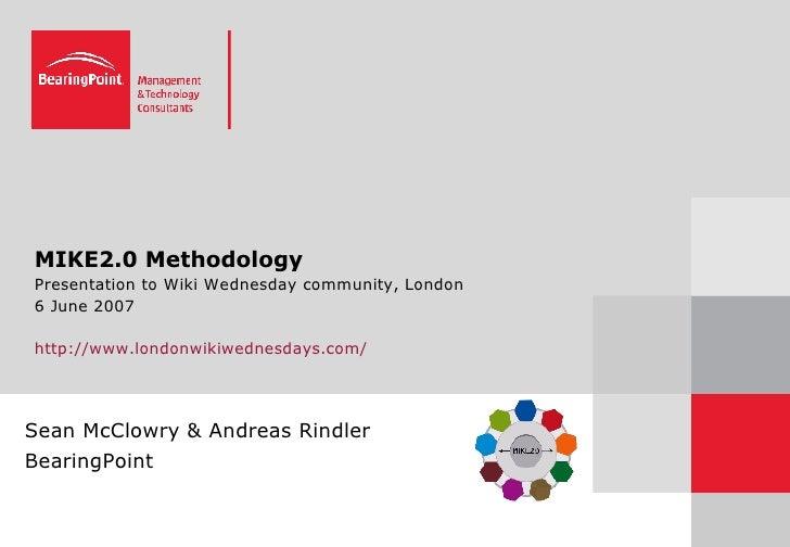 MIKE2.0 Methodology Presentation to Wiki Wednesday community, London 6 June 2007 http://www.londonwikiwednesdays.com/ Sean...