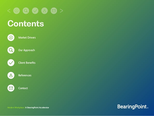 Contents Market Drivers Our Approach Client Benefits References Contact Modern Workplace | A BearingPoint Accelerator