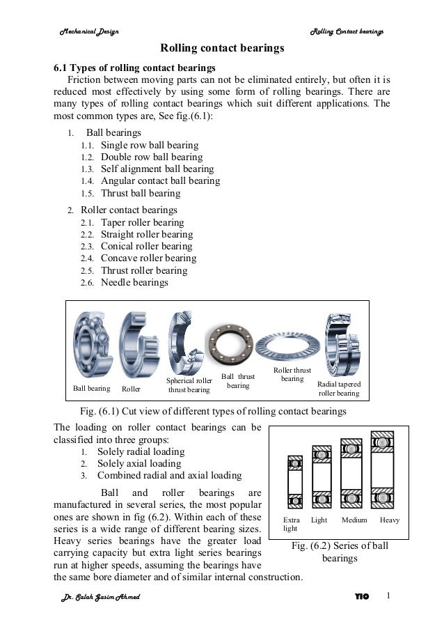 Mechanical Design                                                          Rolling Contact bearings                       ...