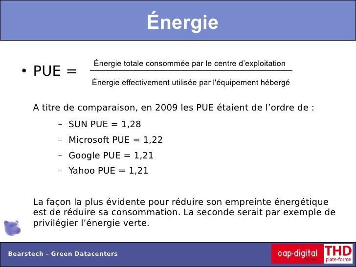 Énergie                      Énergie totale consommée par le centre d'exploitation   ●   PUE =                      Énergi...