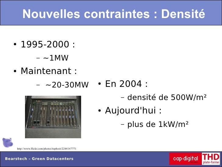 Nouvelles contraintes : Densité   ●     1995-2000 :                      –    ~1MW   ●     Maintenant :                   ...