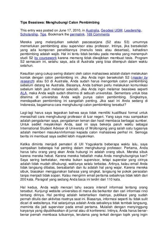 contoh essay untuk pengajuan beasiswa lpdp