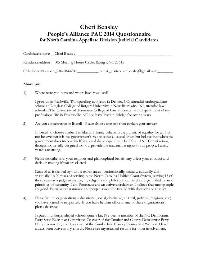 Cheri Beasley People's Alliance PAC 2014 Questionnaire  for North Carolina Appellate Division Judicial Candidates     ...