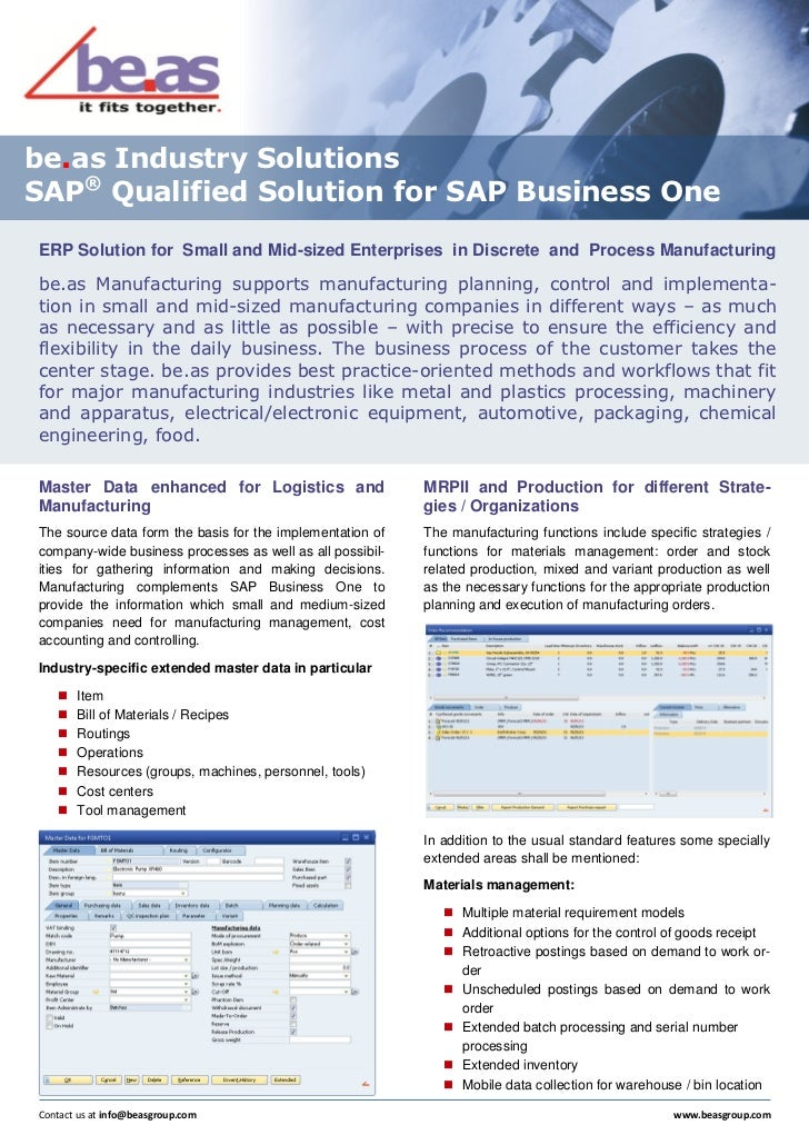 be.as Industry SolutionsSAP® Qualified Solution for SAP Business OneERP Solution for Small and Mid-sized Enterprises in Di...