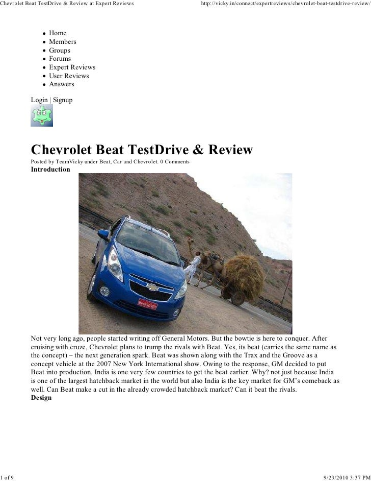 Chevrolet Beat TestDrive & Review at Expert Reviews                        http://vicky.in/connect/expertreviews/chevrolet...