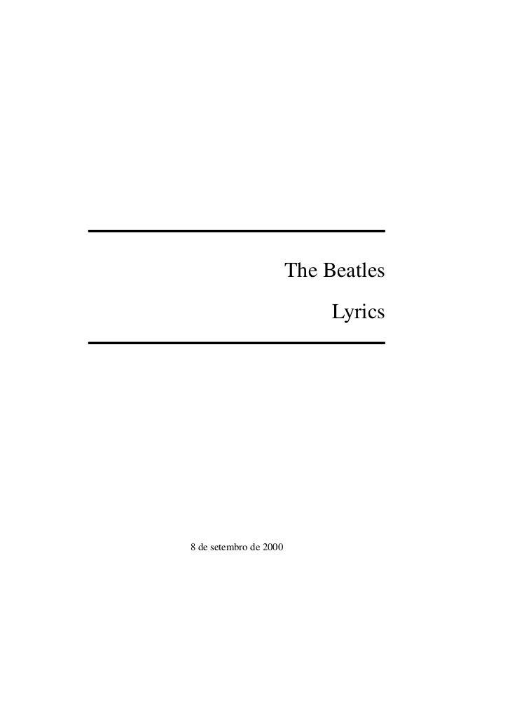 The Beatles                             Lyrics8 de setembro de 2000