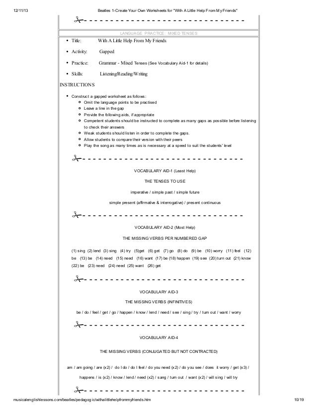 ... 10. 12/11/13 Beatles 1-Create Your Own Worksheets ...