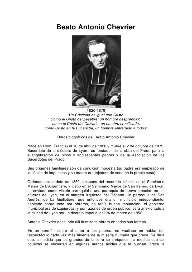 "Beato Antonio Chevrier                                       (1826-1879)                        ""Un Cristiano es igual que..."