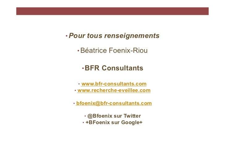 Quelques pistes pour identifier des données de marché, BFR Consultants