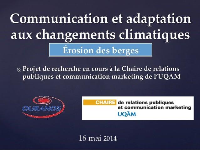 Le cas de l'érosion des berges du fleuve Saint-Laurent