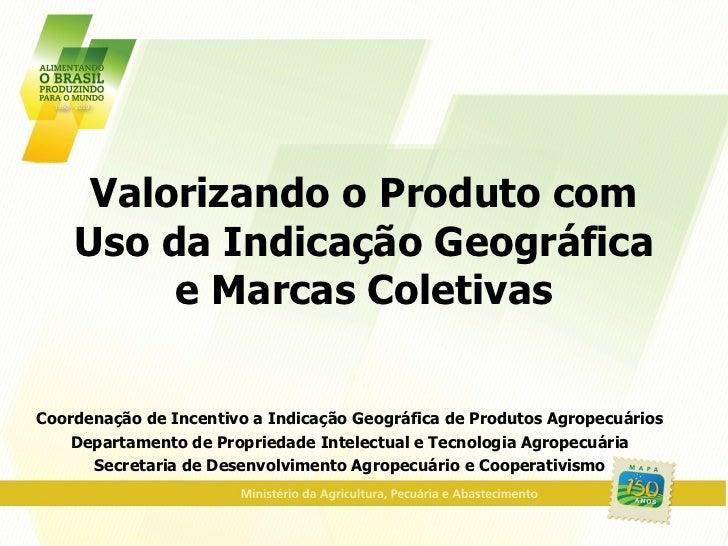 Valorizando o Produto com Uso da Indicação Geográfica e Marcas Coletivas Coordenação de Incentivo a Indicação Geográfica d...