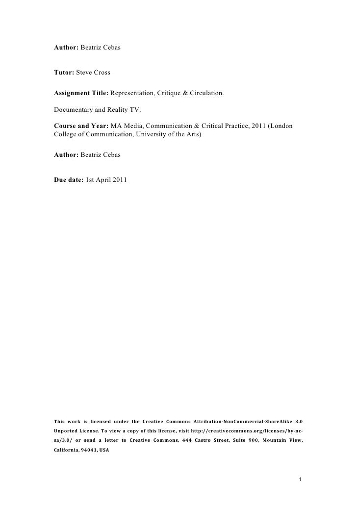 documentary and reality tv essay author beatriz cebastutor steve crossassignment title representation critique circulation