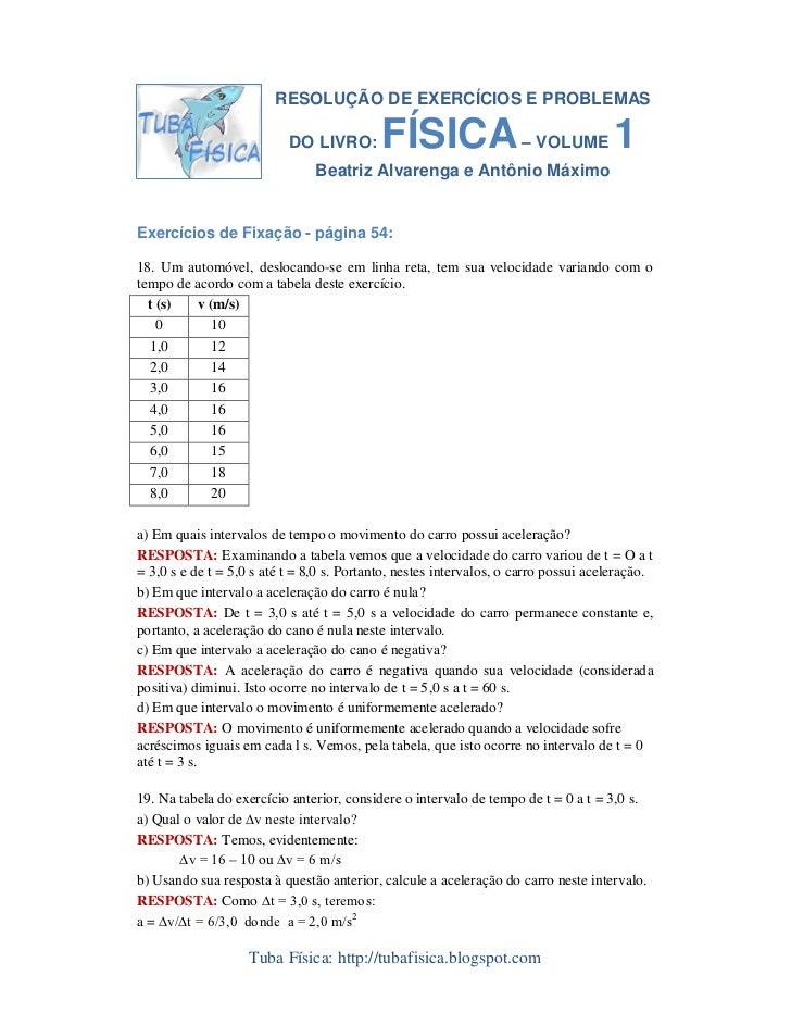 RESOLUÇÃO DE EXERCÍCIOS E PROBLEMAS                             DO LIVRO:        FÍSICA – VOLUME 1                        ...