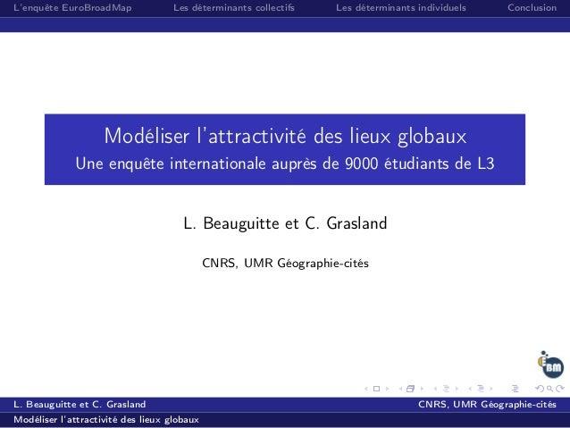 L'enquête EuroBroadMap Les déterminants collectifs Les déterminants individuels Conclusion Modéliser l'attractivité des li...