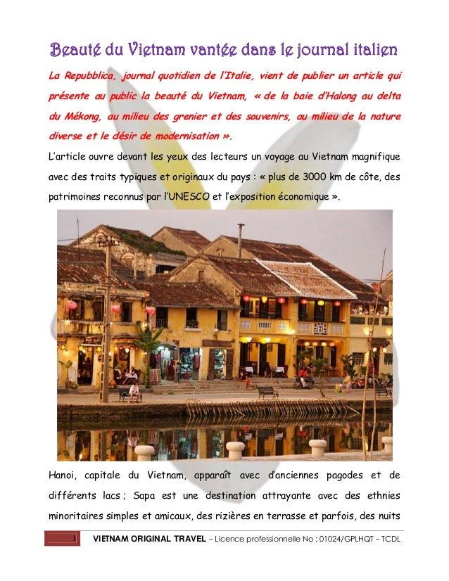 Beauté du Vietnam vantée dans le journal italien La Repubblica, journal quotidien de l'Italie, vient de publier un article...