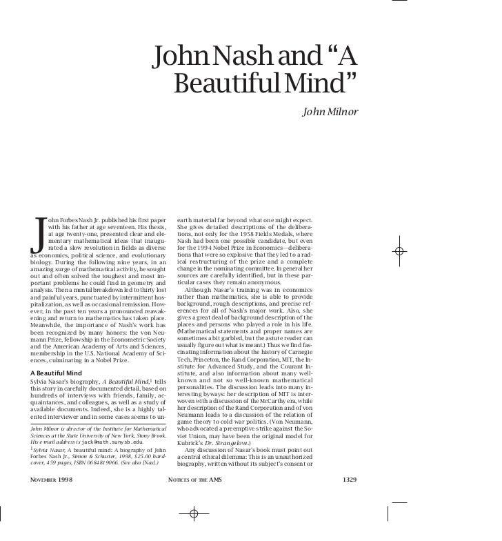 """John Nash and """"A                                                     Beautiful Mind""""                                      ..."""