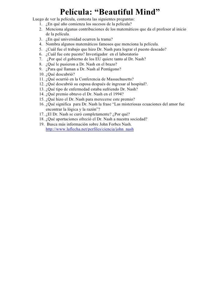 """Película: """"Beautiful Mind"""" Luego de ver la película, contesta las siguientes preguntas:    1. ¿En qué año comienza los suc..."""