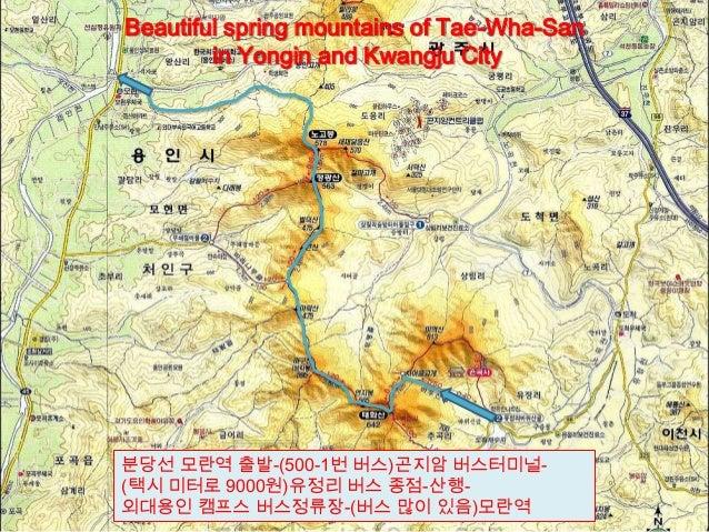 분당선 모란역 출발-(500-1번 버스)곤지암 버스터미널-(택시 미터로 9000원)유정리 버스 종점-산행-외대용인 캠프스 버스정류장-(버스 많이 있음)모란역Beautiful spring mountains of Tae-W...