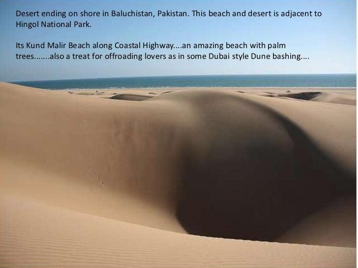 Desert ending on shore in Baluchistan, Pakistan. This beach and desert is adjacent to Hingol National Park.<br />Its KundM...