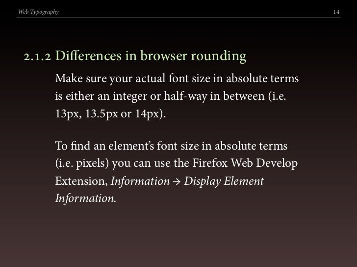 Web Typography                                                  14      .. Differences in browser rounding             M...