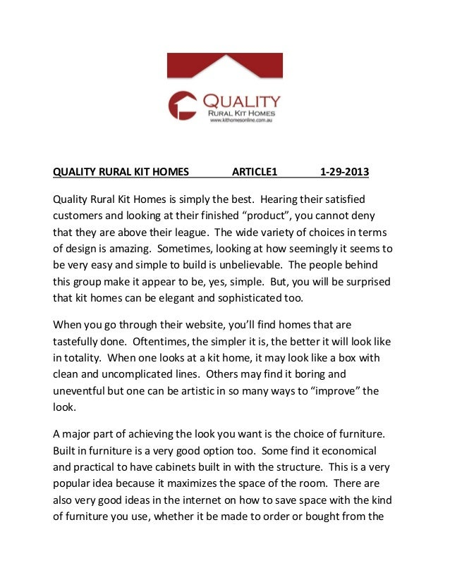 QUALITY RURAL KIT HOMES                 ARTICLE1            1-29-2013Quality Rural Kit Homes is simply the best. Hearing t...