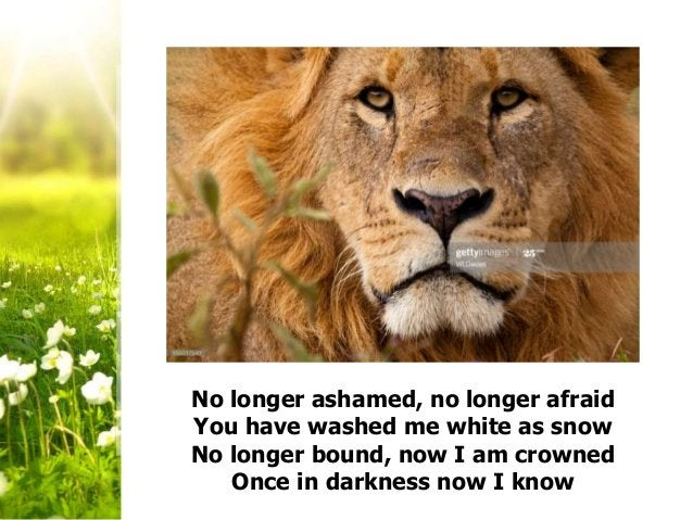 No longer ashamed, no longer afraid You have washed me white as snow No longer bound, now I am crowned Once in darkness no...
