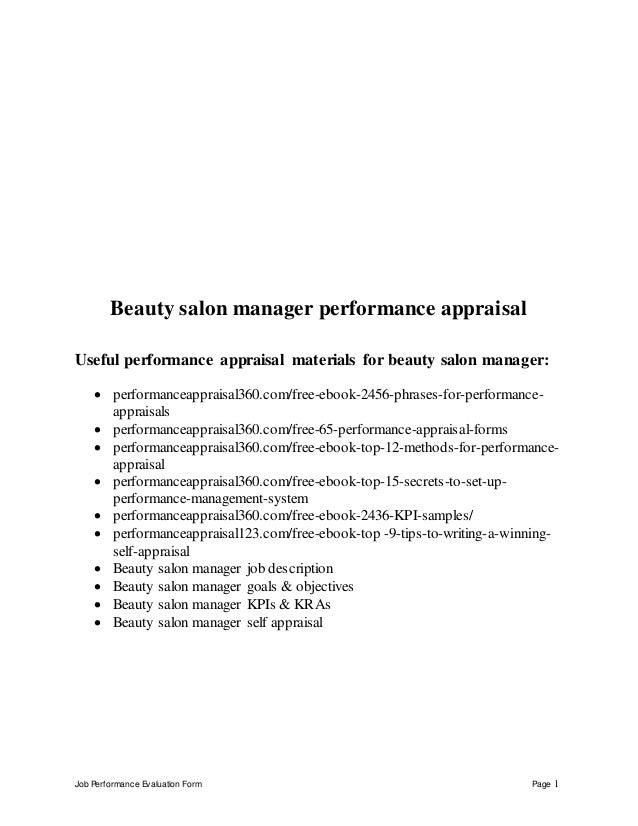 performance appraisal for a tanning salon Definition of training: organized activity aimed at imparting information and/or instructions to improve the recipient's performance or to help him or her attain a.