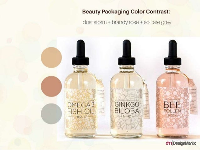 Beauty Packaging Color Contrast: dust storm + brandy rose + solitaire grey