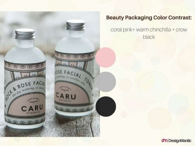 Beauty Packaging Color Contrast: Coral Pink + warm chinchilla + crow black
