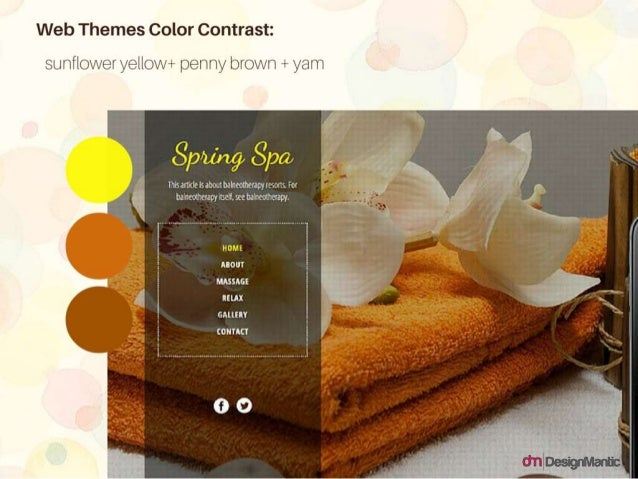 Web Themes Color Contrast: sunflower yellow+ penny brown +yam