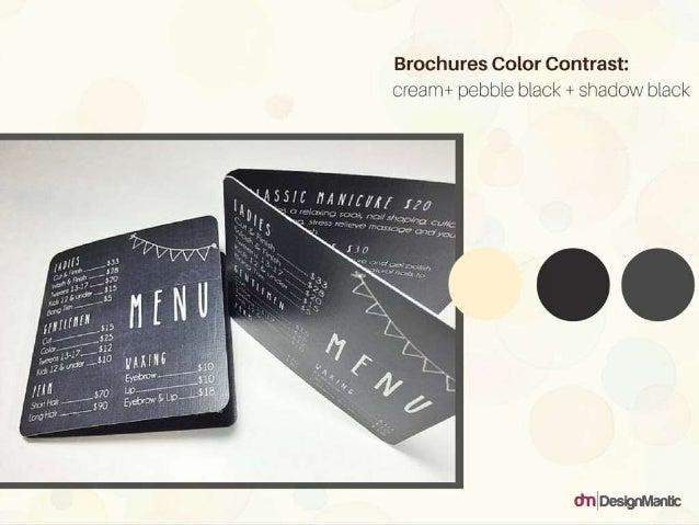 Brochures Color Contrast: cream + pebble black + shadow black