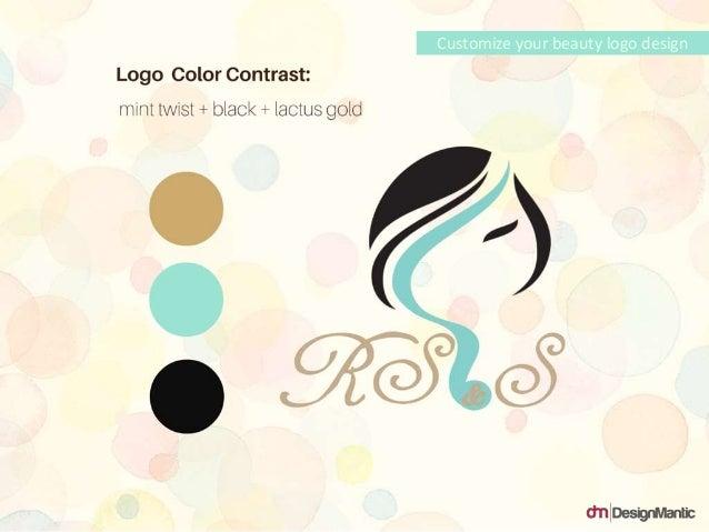 Logo Color Contrast: mint twist + black + lactus gold Customize your beauty logo design