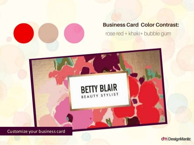 Business Card Color Contrast: rose red + khaki + bubble gum Customize your business card