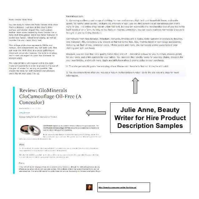 Beauty Writing Sample - Product Descriptions And A Review (View Full …