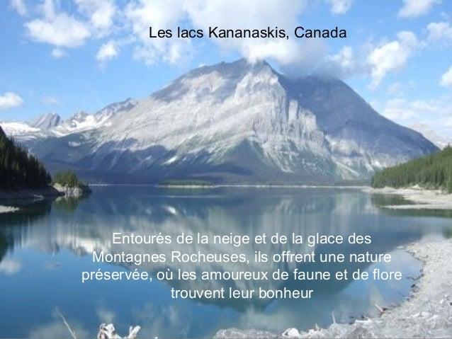 Les lacs Kananaskis, Canada    Entourés de la neige et de la glace des Montagnes Rocheuses, ils offrent une naturepréservé...