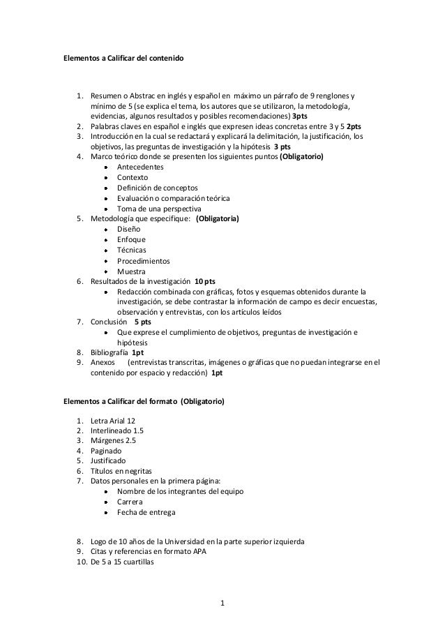 1Elementos a Calificar del contenido1. Resumen o Abstrac en inglés y español en máximo un párrafo de 9 renglones ymínimo d...