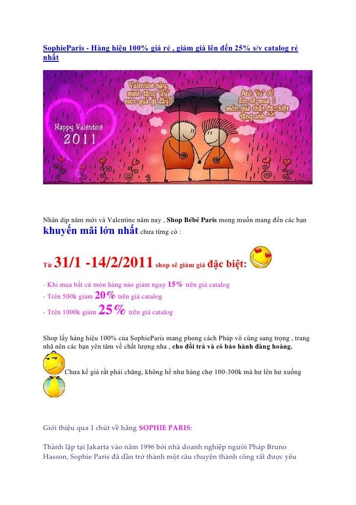 SophieParis - Hàng hiệu 100% giá rẻ , giảm giá lên đến 25% s/v catalog rẻnhấtNhân dịp năm mới và Valentine năm nay , Shop ...
