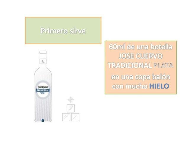 Primero sirve  60ml de una botella JOSE CUERVO TRADICIONAL  en una copa balón con mucho