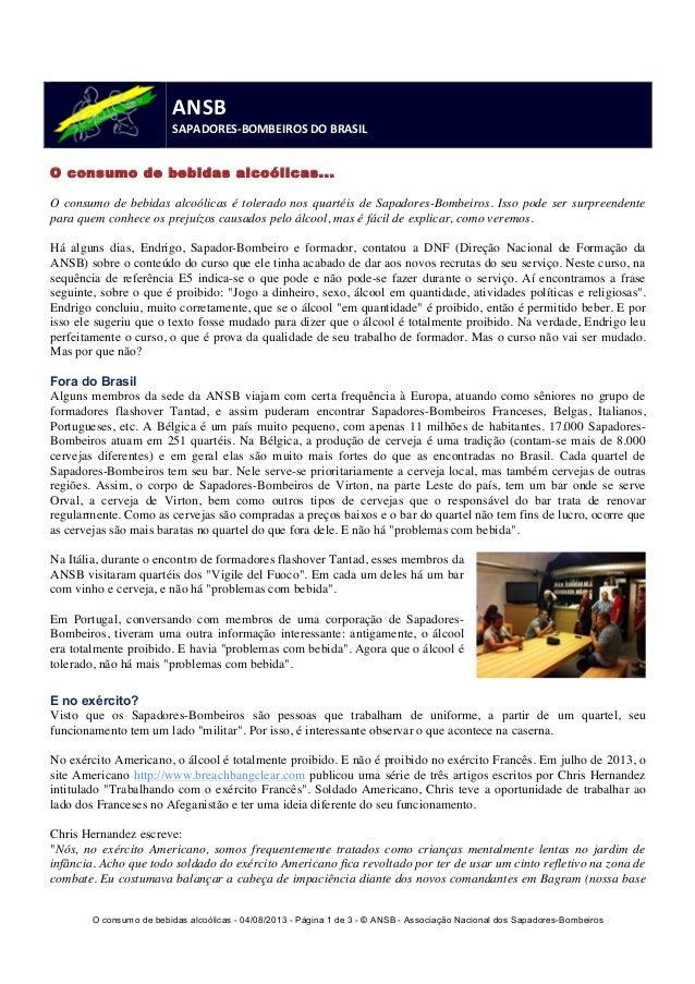O consumo de bebidas alcoólicas - 04/08/2013 - Página 1 de 3 - © ANSB  - Associação Nacional dos Sapadores-Bombeiros  ANSB...