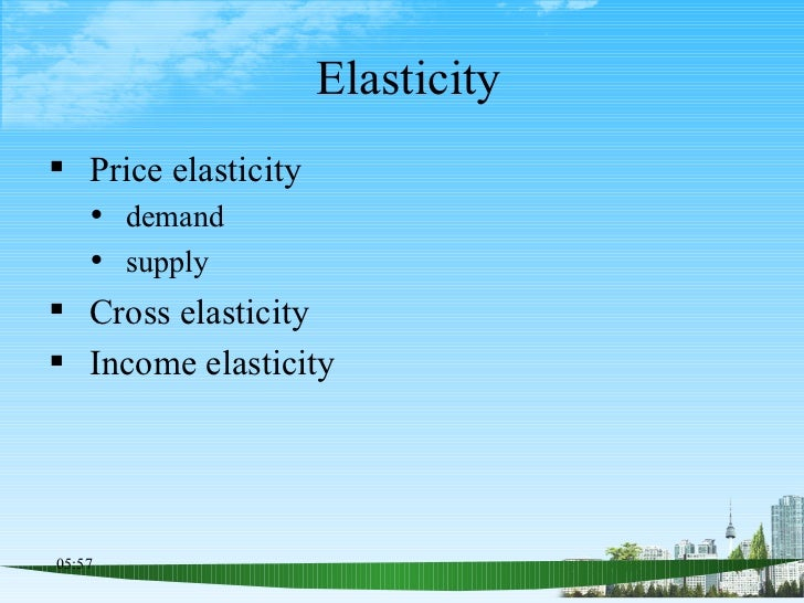 Elasticity <ul><li>Price elasticity </li></ul><ul><ul><li>demand </li></ul></ul><ul><ul><li>supply </li></ul></ul><ul><li>...