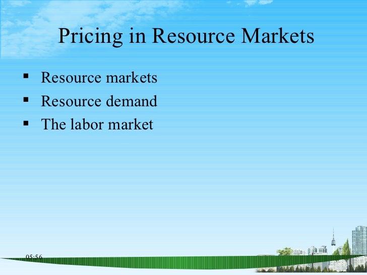 Pricing in Resource Markets <ul><li>Resource markets </li></ul><ul><li>Resource demand </li></ul><ul><li>The labor market ...