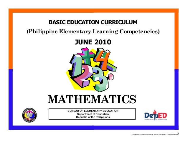 E:CDD FilesBEC-PELC Finalized June 2010COVER PELC - Math.docx Printed: 8/12/2010 11:30 AM [Anafel Bergado] 1 (Philippine E...