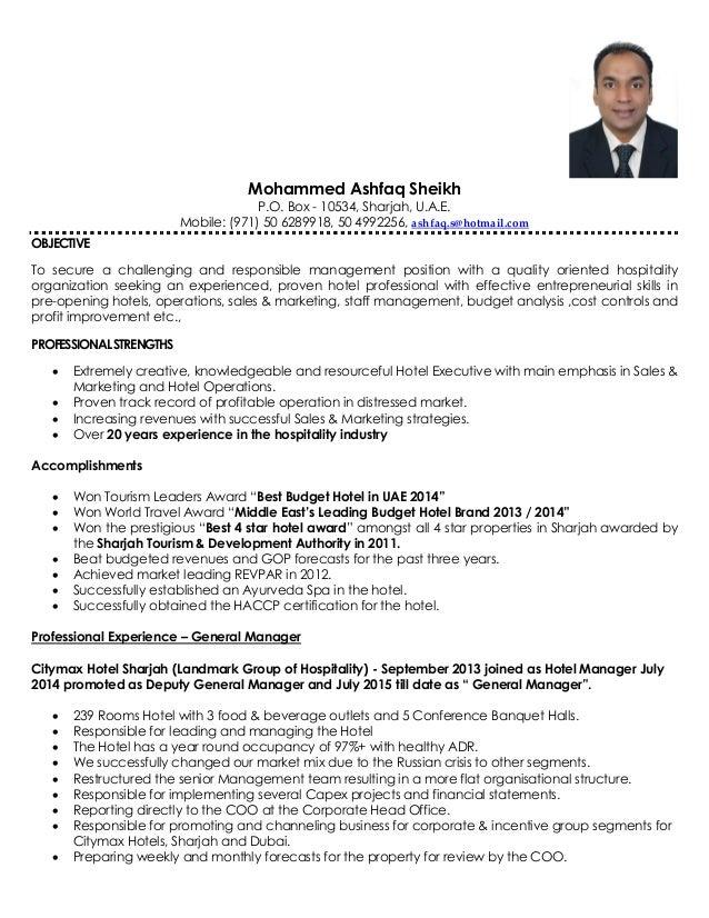hotel manager resume pdf