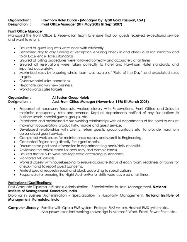 Sample Cv Of Hotel General Manager