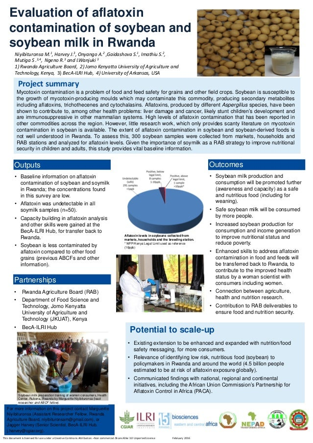 • Baseline information on aflatoxin contamination of soybean and soymilk in Rwanda; the concentrations found in this surve...