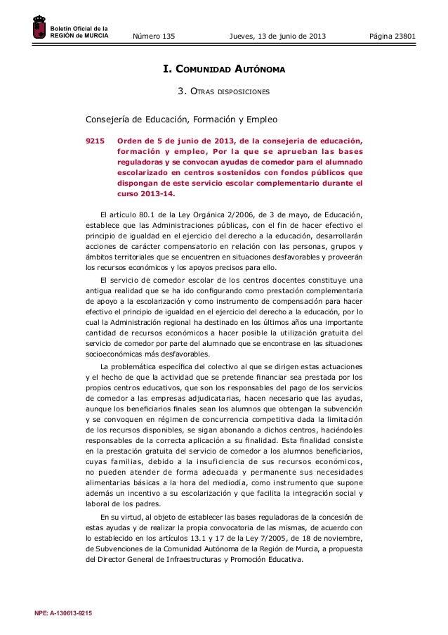 Página 23801Número 135 Jueves, 13 de junio de 2013I. Comunidad Autónoma3. Otras disposicionesConsejería de Educación, For...