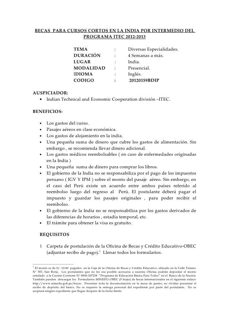 BECAS PARA CURSOS CORTOS EN LA INDIA POR INTERMEDIO DEL                    PROGRAMA ITEC 2012-2013                        ...