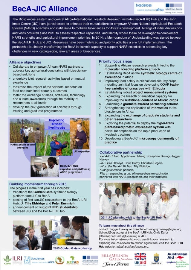JIC expertise NARS priorities and strengths BecA-ILRI Hub expertise and platforms; ABCF programme Improving African liveli...